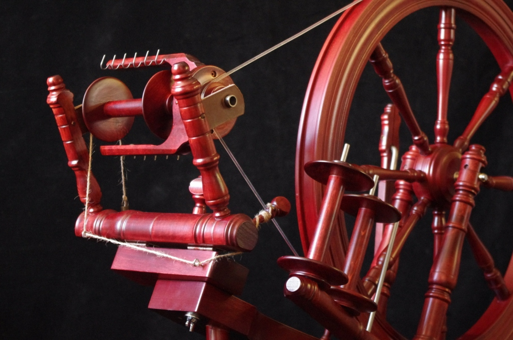Kromski Interlude spinning wheel, mahogany finish.