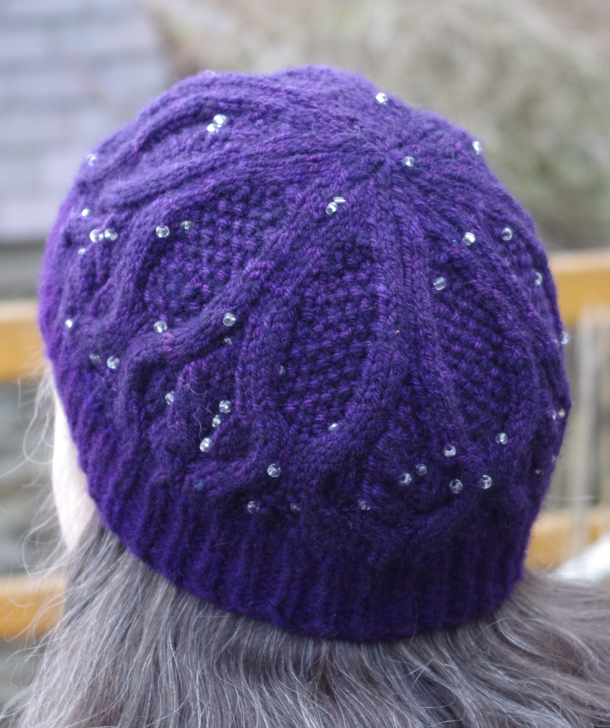 Beaded Falkland hat, Brambles